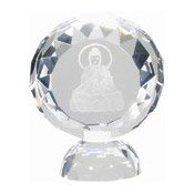 Facet Round Crystal Stand With Kwan Yin