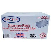 Microwave Plastic Food Containers With Lids (500ml) (外賣膠盒連蓋)