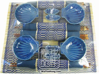 Royal Blue Shell Dining Set (4 Place Settings) (藍色筷子套禮包) - Click Image to Close