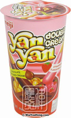 Yan Yan Double Cream Biscuit Dipper (Strawberry & Chocolate) (明治雙重口味欣欣杯) - Click Image to Close